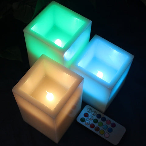 Set of 3 Square Flameless Wax Candles with Multi Color Remote and Timer