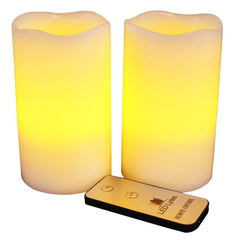 Image of Pillar Candles with Amber Yellow Flame, Set of 2 Flameless Wax and Remote