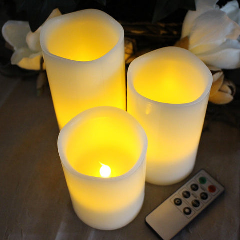 Flameless Wax Candles with Remote and Timer Set of 3