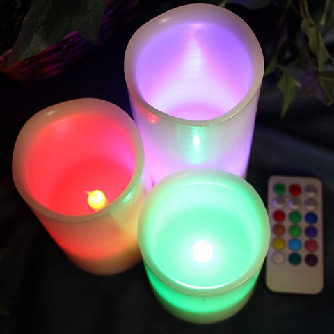 Set of 3 Flameless Wax Candles with Multi Color Remote and Timer
