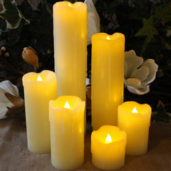 Flameless Candles with Timer Set of 6 Slim Ivory Wax and Amber Flame