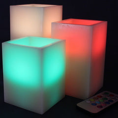 Image of Set of 3 Square Flameless Wax Candles with Multi Color Remote and Timer