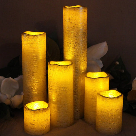 Textured Gold Set of 6 Slim With Amber Yellow Flame Flameless Candles with Timer