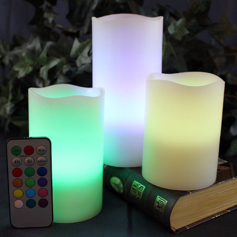 Multi Color Flameless Wax Candles Set of 3 with Remote and Timer