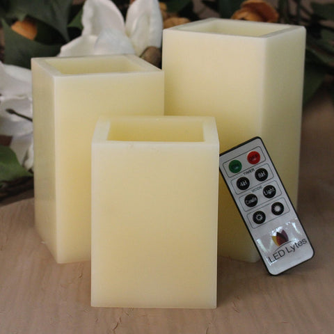 Set of 3 Square Flameless Wax Candles with Remote and Timer