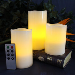Set of 3 Flameless Wax Candles with Remote and Timer