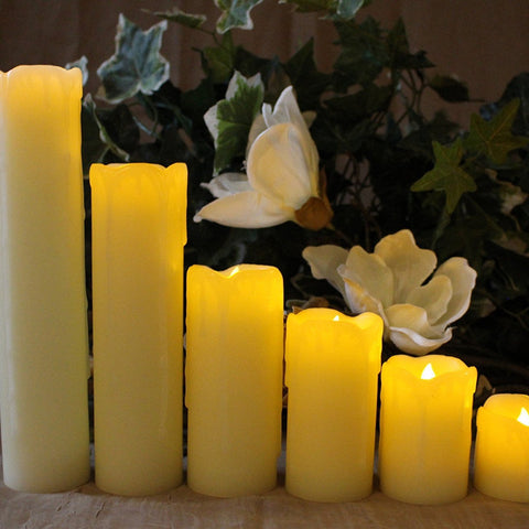Slim LED Candles with Timer Option, Set of 6 Slim Ivory Wax and Amber Flame