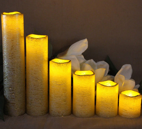 Narrow Set of 6 Slim Textured Gold With Amber Yellow Flame Flameless Candles with Timer