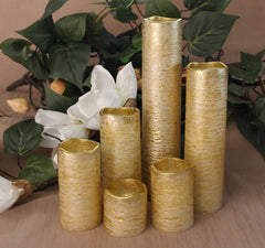 Set of 6 Slim Rustic Gold With Amber Yellow Flame Flameless Candles with Timer