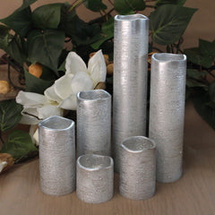 Narrow Set of 6 Textured Silver With Warm White Flame LED Candles with Timer - BACK IN STOCK SOON!