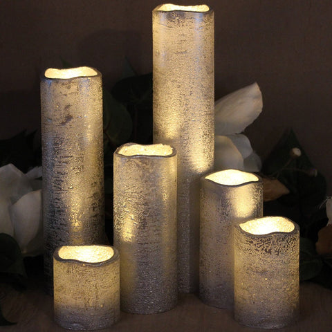 Set of 6 Slim Rustic Silver With Warm White Flame Flameless Candles with Timer