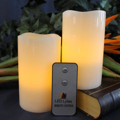 Image of Set of 2 Flameless Wax Pillar Candles with Amber Yellow Flame and Remote