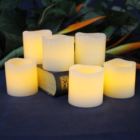 "Set of 6 Votive 2""x 2"" Ivory Wax with Amber Yellow Flame"