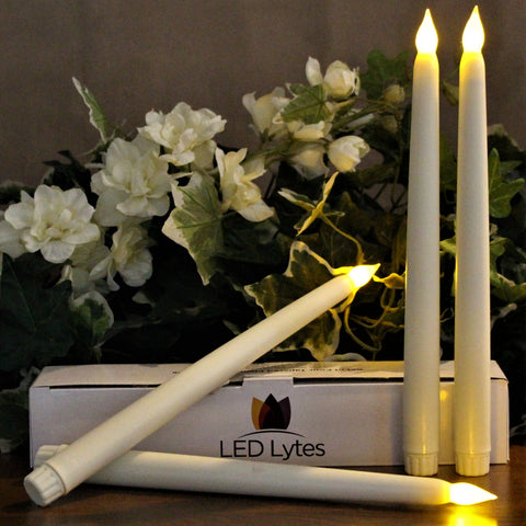 "Flickering Tapered Flameless Candles with Timer, Ivory Wax and Amber Yellow Flame; 11"" Tall, 3/4"" Base"