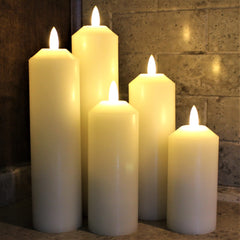 NEW 3D Flame Technology, Set of 5 LED Candles with Timer