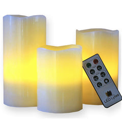 Image of Flameless LED Candles with Remote and Timer Set of 3