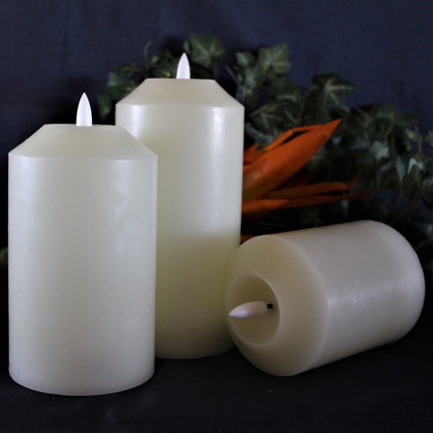 NEW 3D Flame Technology, Set of 3 LED Candles with Timer