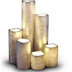 Narrow Set of 6 Textured Silver With Warm White Flame LED Candles with Timer