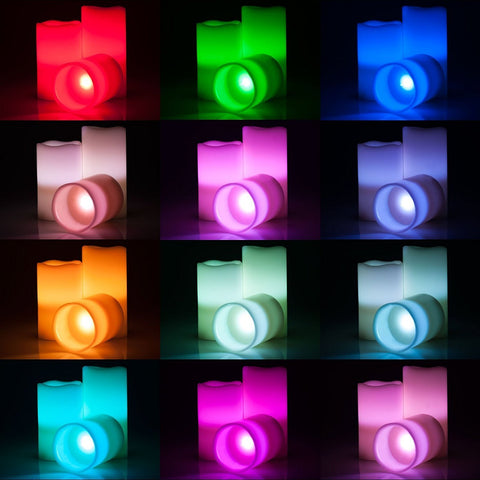 Multi Color Flameless Wax Square Candles Set of 3 with Remote and Timer