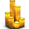 Image of Narrow Set of 6 Slim Textured Gold With Amber Yellow Flame Flameless Candles with Timer
