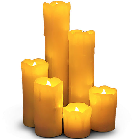Flameless Narrow Candles with Timer Option, Set of 6 Slim Ivory Wax and Amber Flame