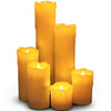 Image of Flameless Narrow Candles with Timer Option, Set of 6 Slim Ivory Wax and Amber Flame