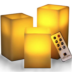 Flameless Square Wax Candles with Remote and Timer Set of 3