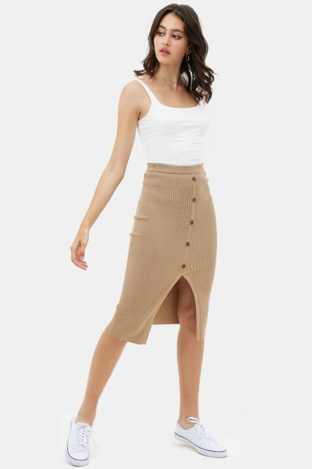 LIVE THE MOMENT FRONT SLIT BUTTONED KNITTED MIDI SKIRT - [jayden_p]