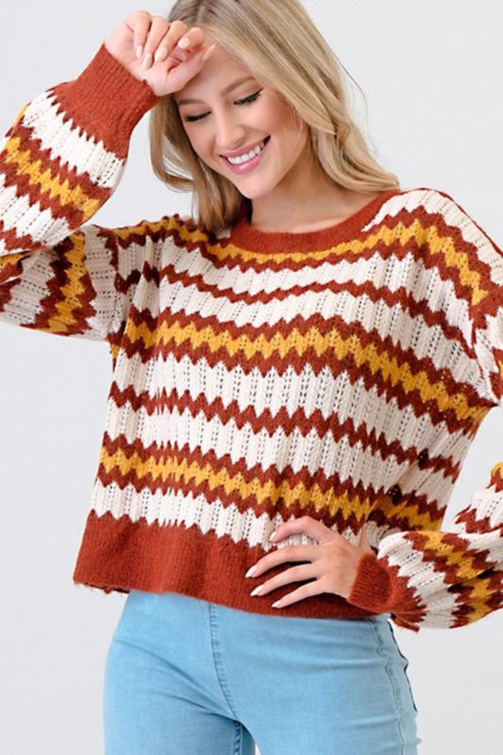 CHEVRON KNIT SWEATER TOP - [jayden_p]