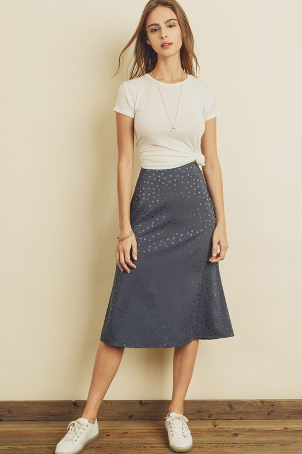 OFFICE DAY MUTED DOT MIDI SKIRT - [jayden_p]