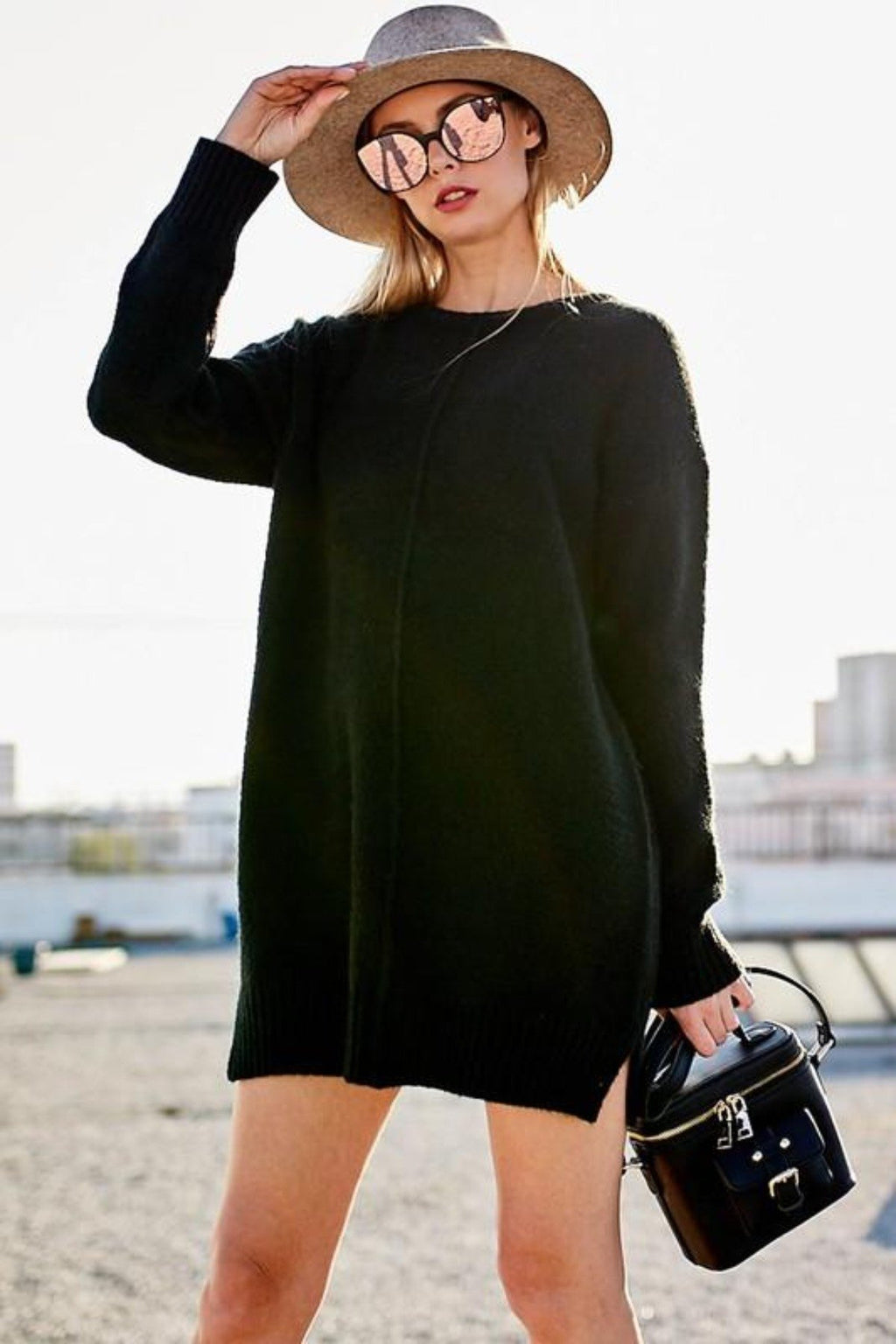 KEEP IT SOLID TUNIC SWEATER DRESS - [jayden_p]