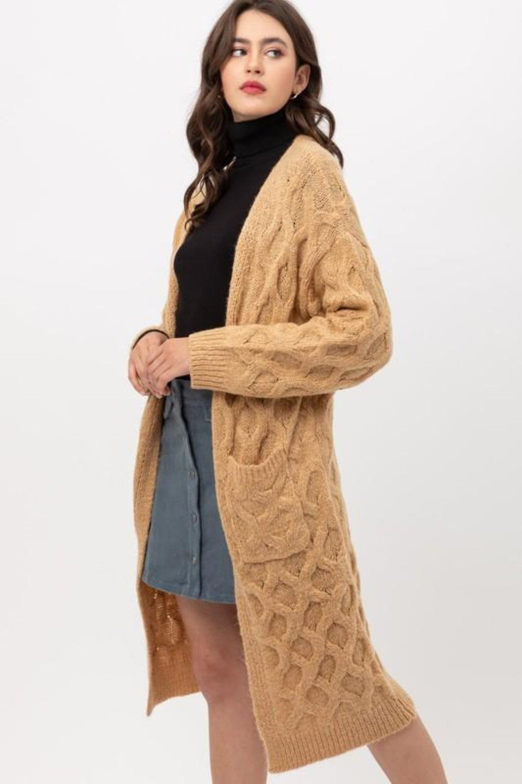 SWEET HONEY KNITTED TEXTURED POCKETED CARDIGAN