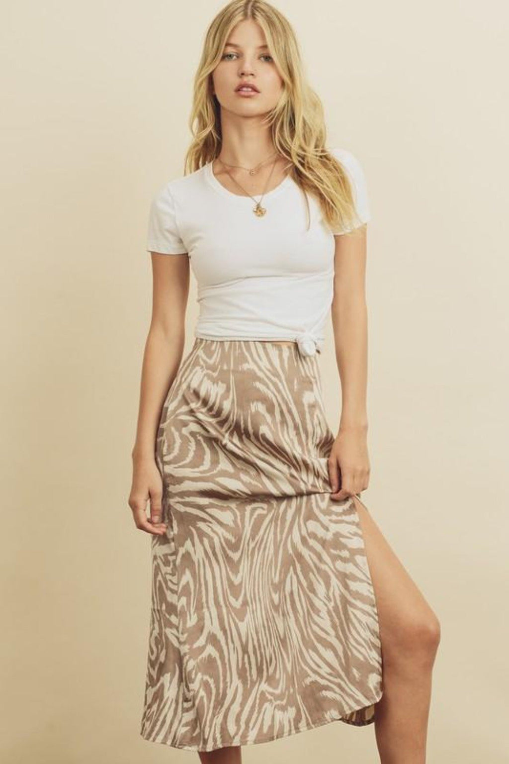 KEEP IT FIERCE TIGER PRINTED SLIP MIDI SKIRT - [jayden_p]