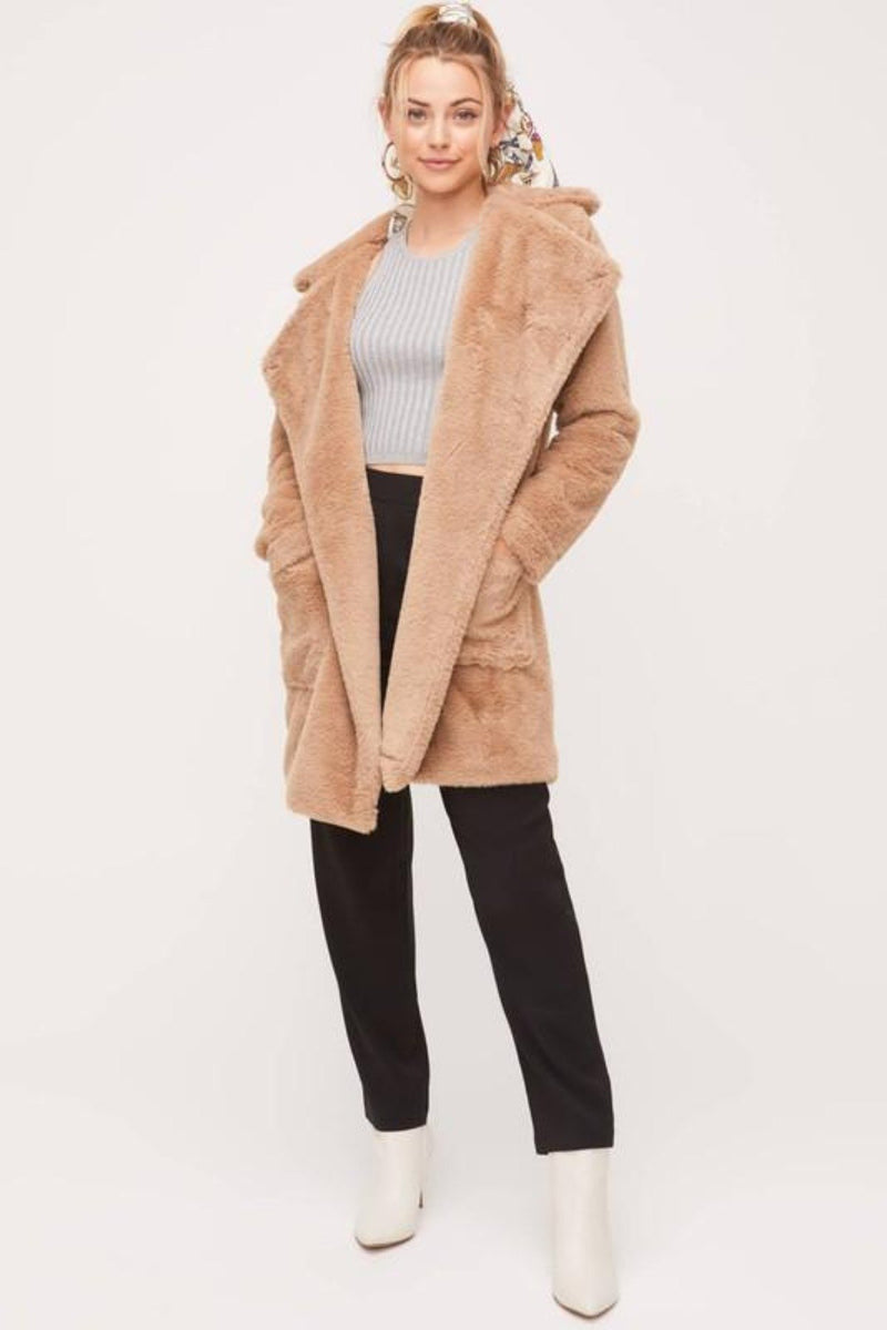 COZY TIME POCKETED FAUX FUR COAT - [jayden_p]