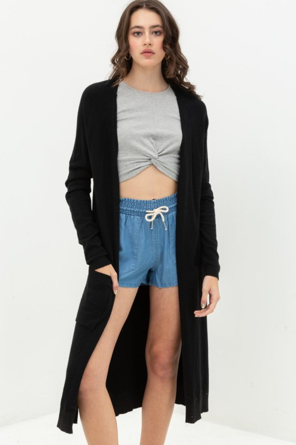 LONGLINE KNIT DUSTER CARDIGAN SWEATER