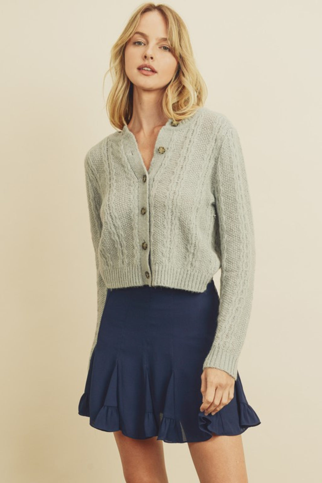 HARVEST WAVE KNIT BUTTON-UP CARDIGAN SWEATER