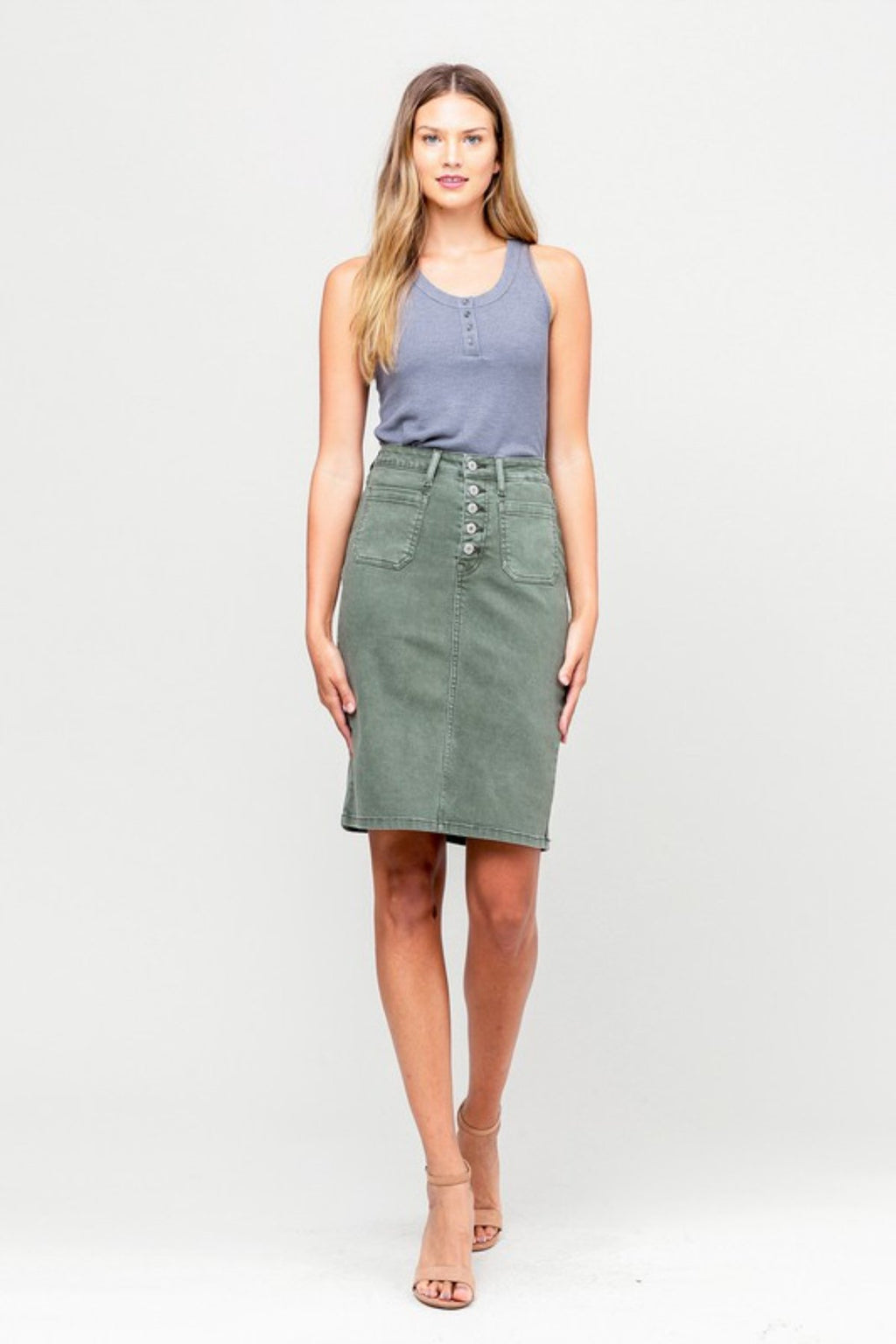 CLAUDIA BUTTON ME UP OLIVE DENIM MIDI SKIRT