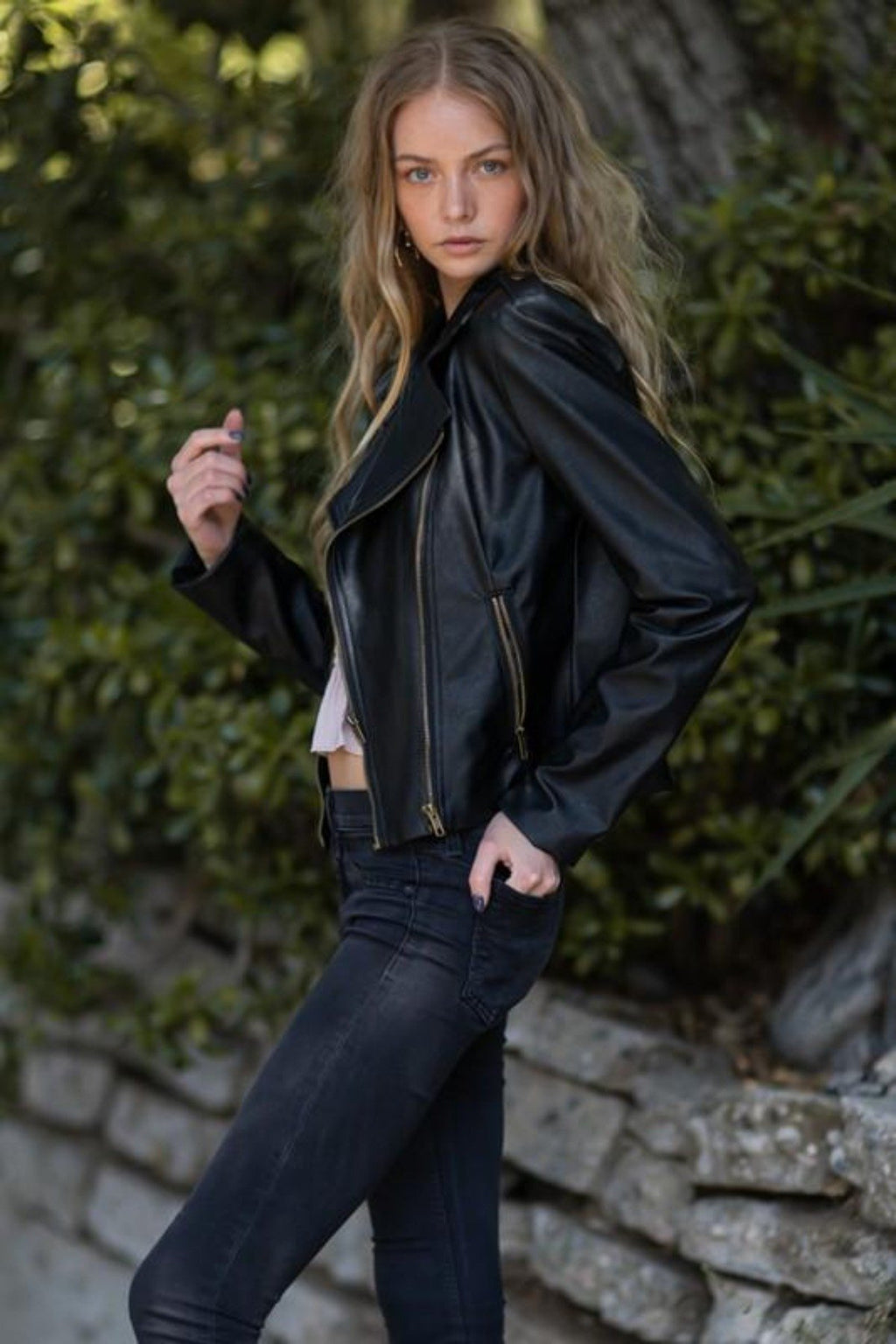 ZIP ME UP FAUX LEATHER MOTO JACKET