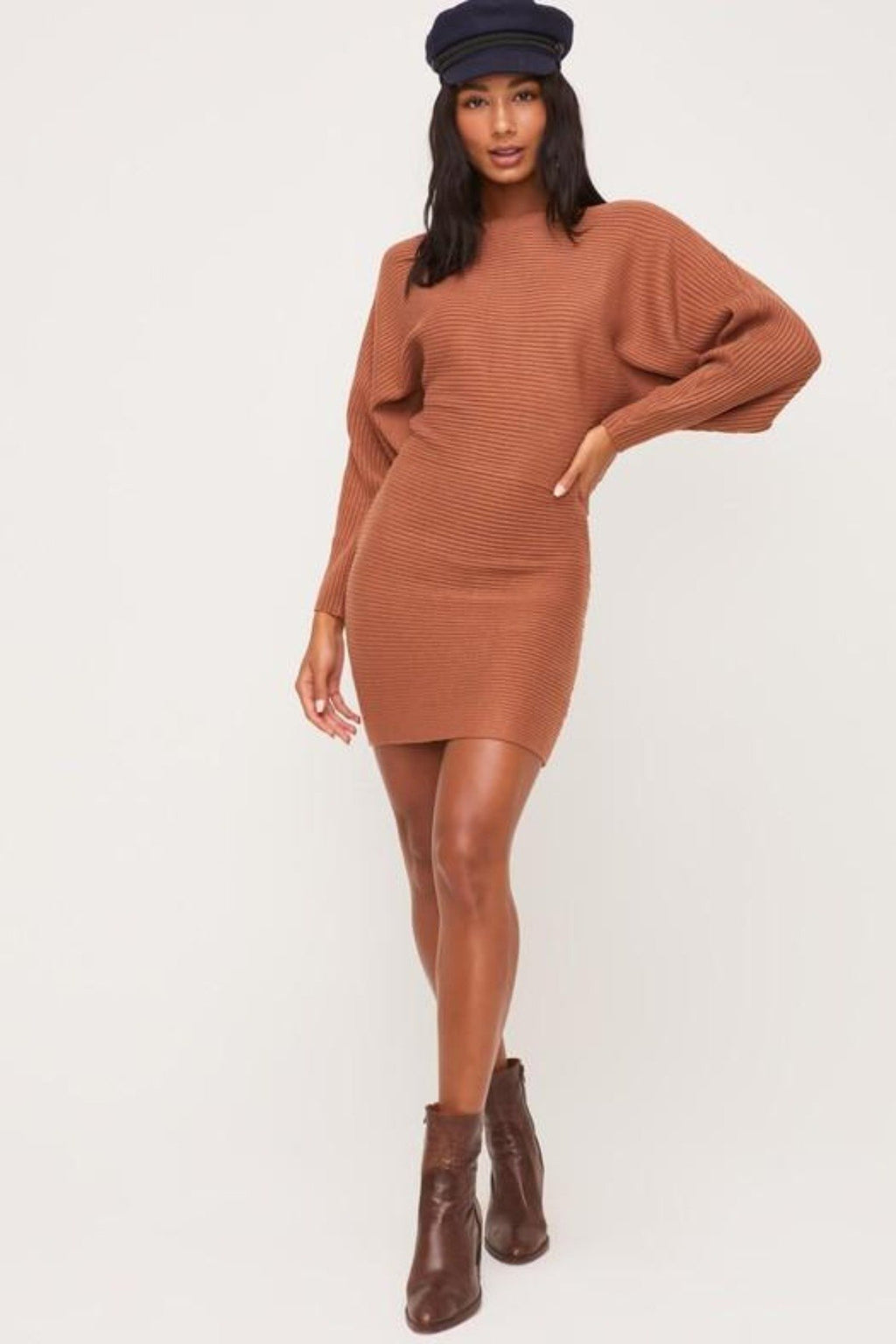 AMBER ROMANCE RIBBED SWEATER DRESS - [jayden_p]