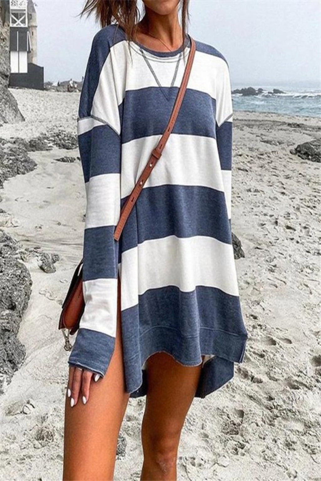 RIPTIDE LOOSE STRIPED LONG SLEEVE SWEATER TOP - [jayden_p]
