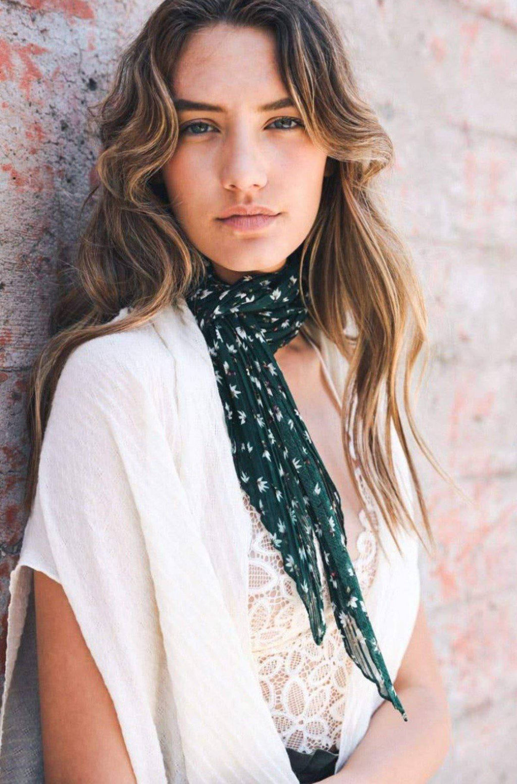 FLOWER PLEATED LADIES HAIR TIE AND SCARF - [jayden_p]