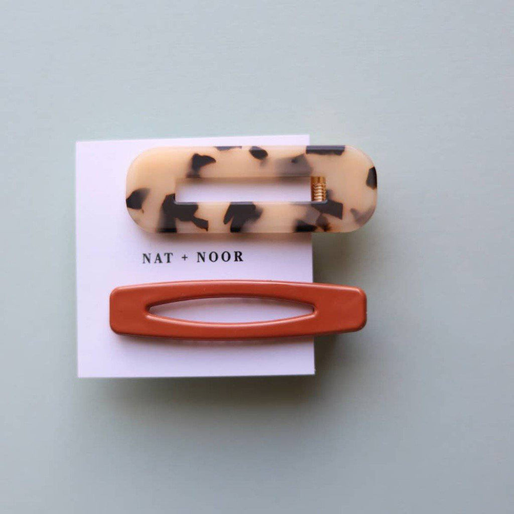 BURNT ORANGE + TORTOISE HAIR CLIP SET - [jayden_p]