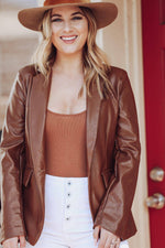 Lexi Cognac Faux Leather Blazer - [jayden_p]