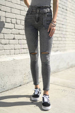 TAKE IT TO THE STREETS BELTED DISTRESSED SKINNY JEANS - [jayden_p]