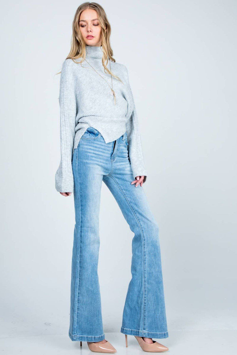 RETRO HIGH RISE FLARE BELL BOTTOM DENIM JEANS - [jayden_p]