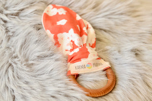 Organic cotton maple wood teether ring. Handmade by Karma Pharma in the United States.