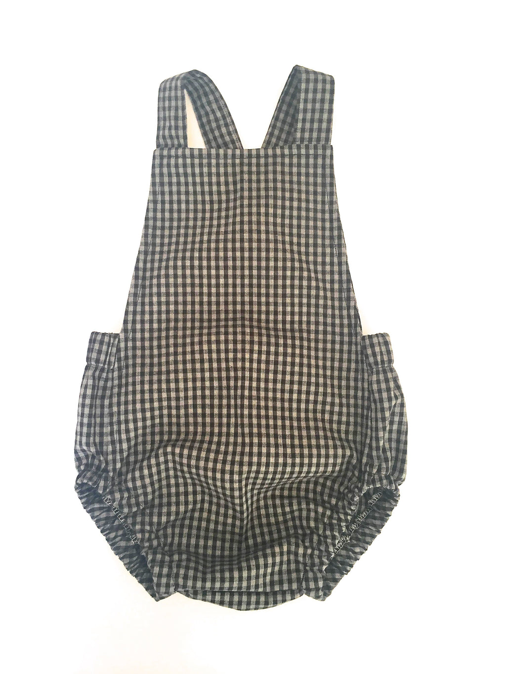 Organic Cotton Romper - Gray/Black Gingham