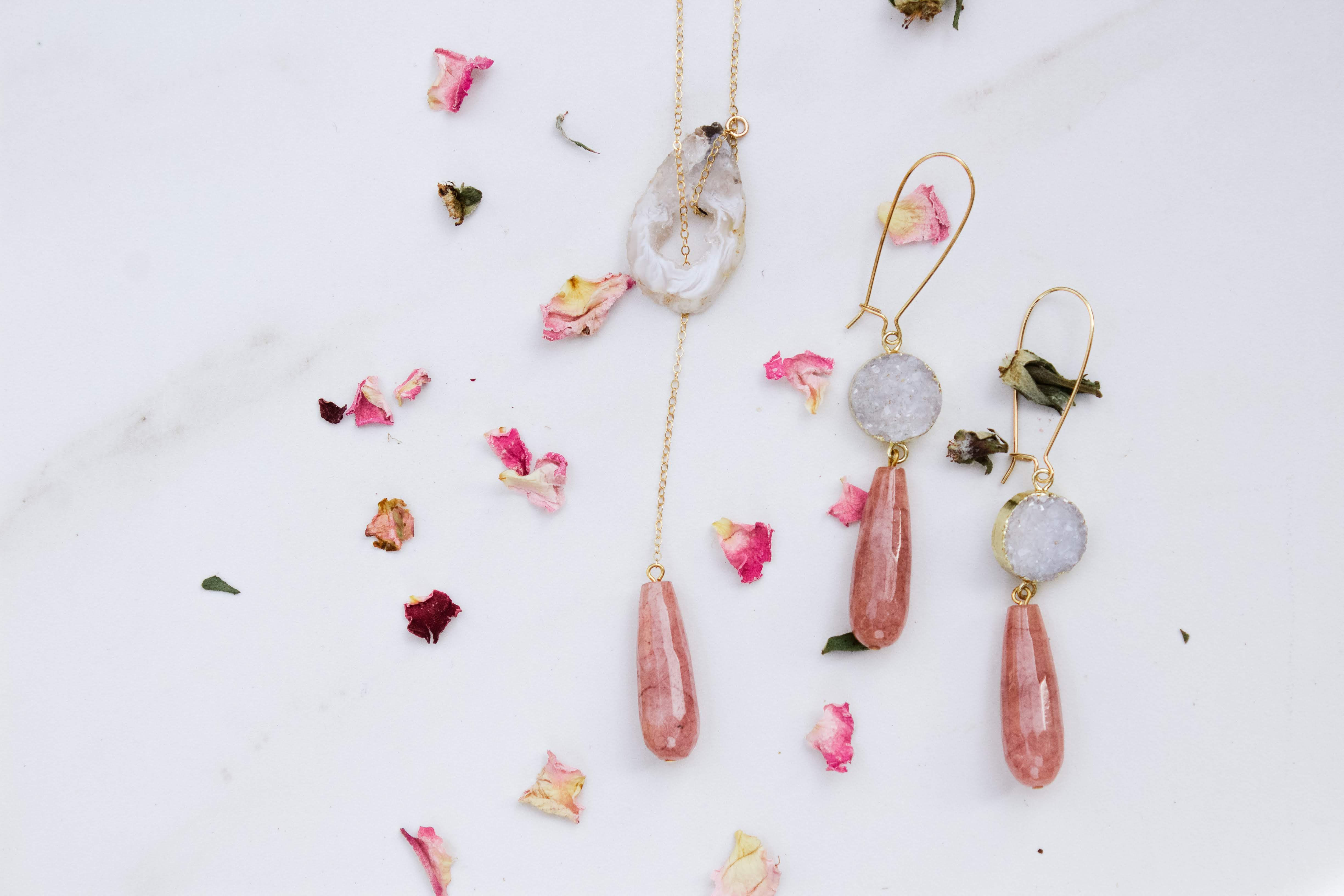 druzy and pink quartz custom boho chic jewelry