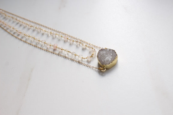 druzy layered custom necklace