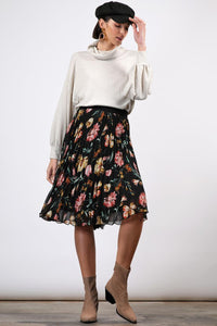 Pleated Floral Chiffon Skirt
